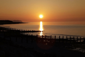 Sunset At Pensarn Beach at Castle Cove Caravan Park, Abergele North Wales