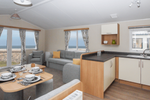 Inside a static caravan at Castle Cove Caravan Park