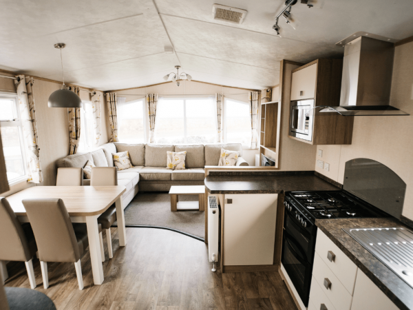 2017 Carnaby Oakdale 35ft x 12ft - 2 bed for sale at Castle Cove Caravan Park in Abergele North Wales - Lounge view